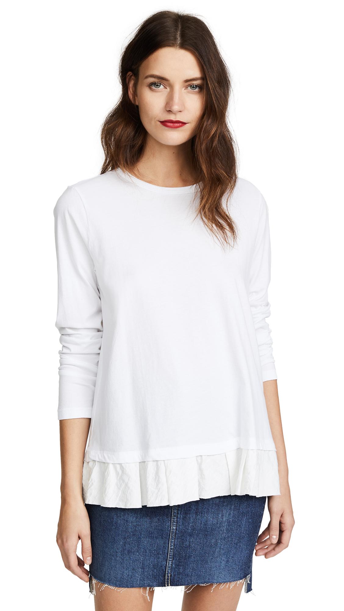 Clu Clu Too Ruffled Top In White/White