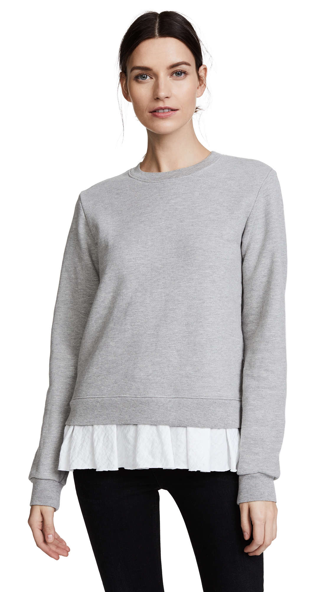 Clu Clu Too Ruffled Sweatshirt In Heather Grey/White