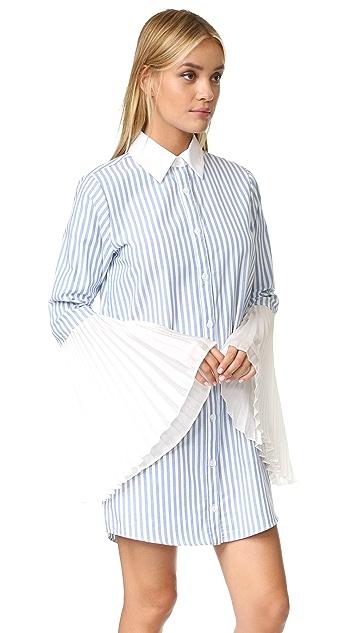 Clu Striped Button Down Shirtdress