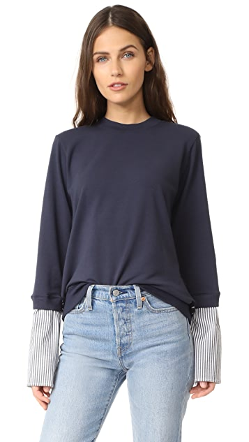 Clu Mix Media Sweatshirt with Lace Panel