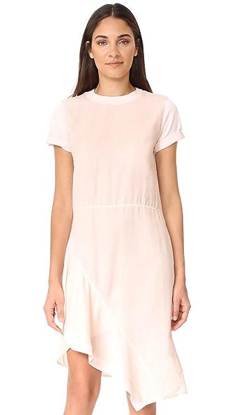 Clu Asymmetrical Paneled Mix Media Dress - Light Pink
