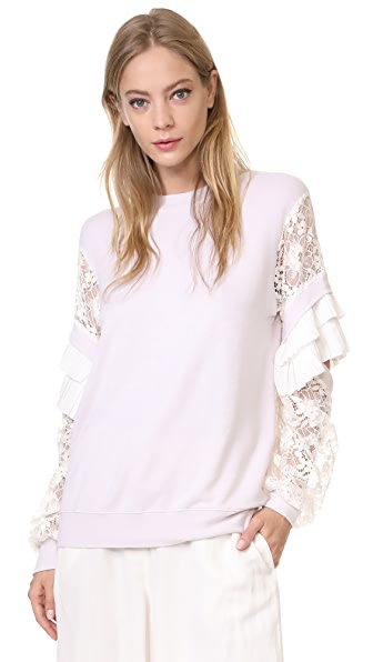Clu Pleat Trimmed Lace Sleeve Pullover - Dusty Pink