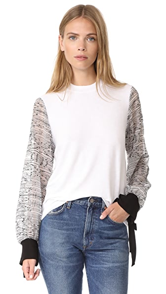 Clu Embroidered Sleeve Pullover In White