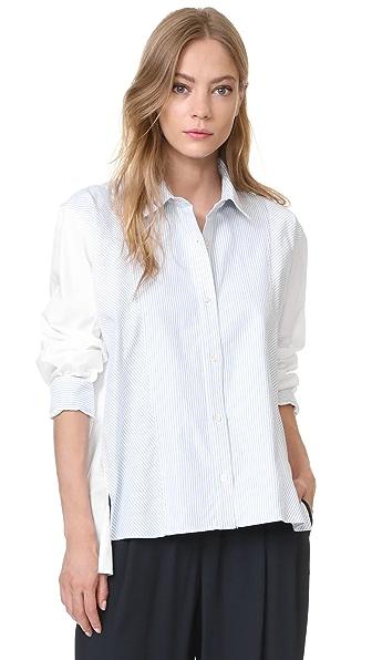 Clu Stripe Pleated Shirt - Blue