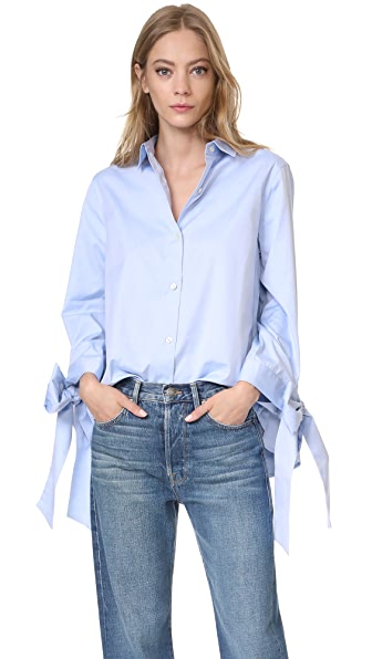 Clu Bow Tie Cuff Shirt - Blue