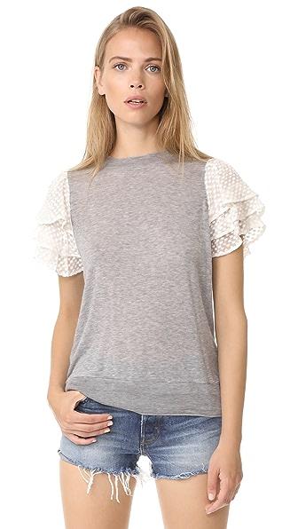 Clu Embroidered Silk Sleeve Top - Heather Grey
