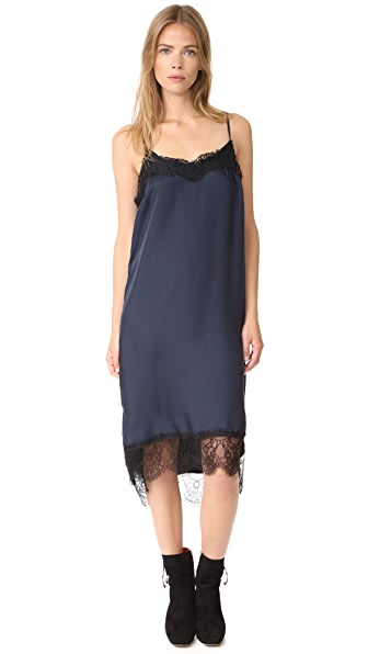 Clu Lace Trimmed Slip Dress - Navy/Black