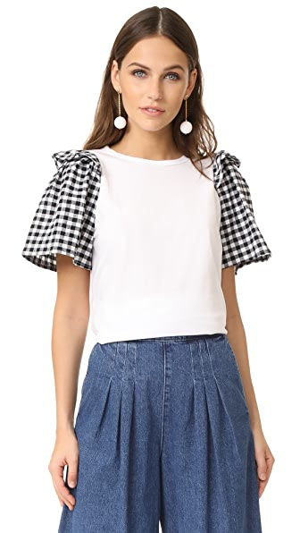 Clu Ruffle Sleeve Mix Media Top - White with Gingham