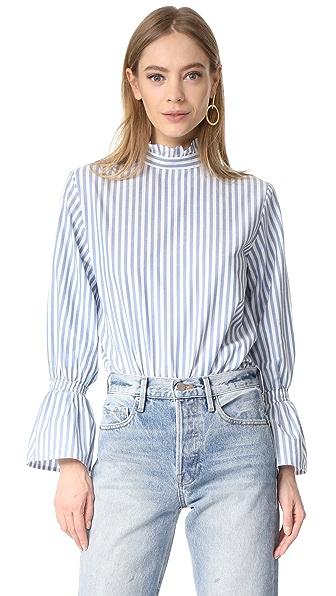 Clu Bell Sleeve Poplin Shirt - Wide Stripe