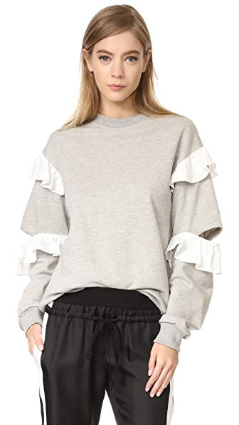 Clu Ruffle Sweatshirt - Grey with White
