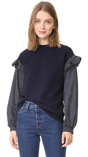 Clu Clu Too Polka Dot Sleeve Sweatshirt