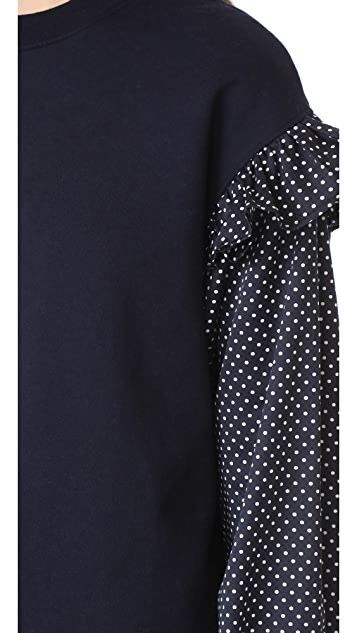 Clu Clu Too Polka Dot Sleeve Sweatshirt