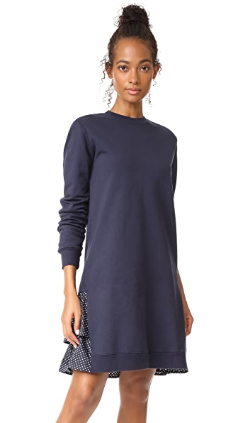 Clu Clu Too Polka Dot Ruffled Sweatshirt Dress - Navy