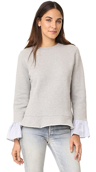 Clu Clu Too Sweatshirt with Striped Ruffled Sleeves In Heather Grey