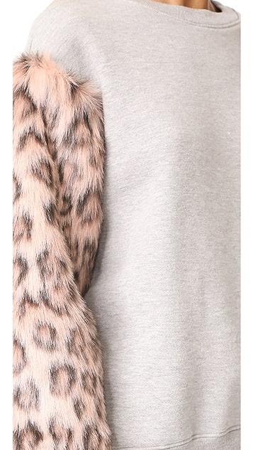 Clu Clu Too Faux Fur Sleeve Sweatshirt