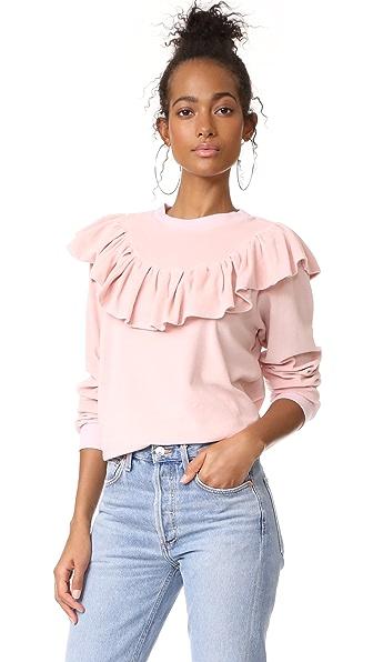 Clu Clu Too Ruffle Trimmed Sweatshirt - Candy Pink