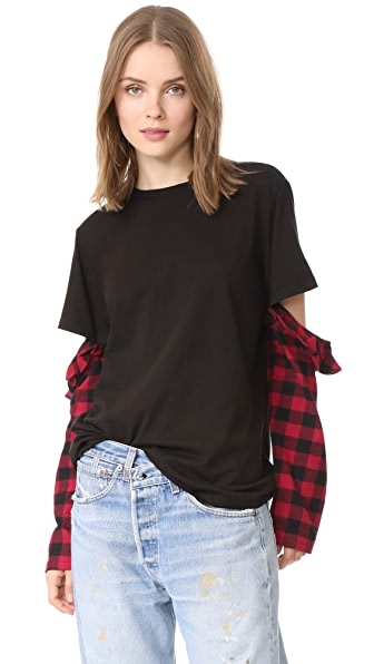 Clu Clu Too Mix Media Open Sleeve Top - Black/Red