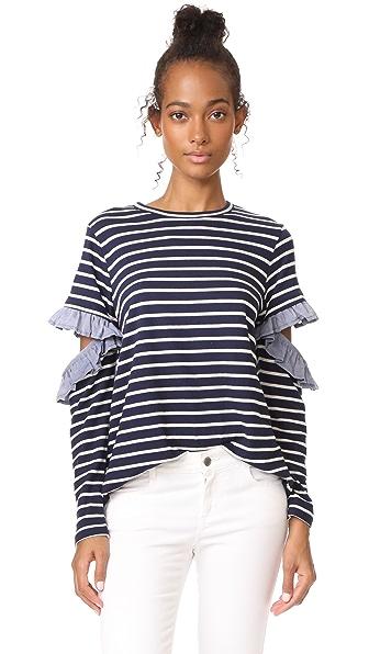 Clu Clu Too Open Sleeve Striped Top with Ruffles - Navy