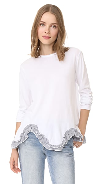 Clu Flared Top with Ruffle Hem - White