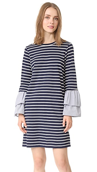 Clu Clu Too Striped Dress with Contrast Ruffles In Navy