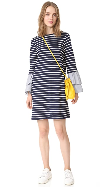 Clu Clu Too Striped Dress with Contrast Ruffles