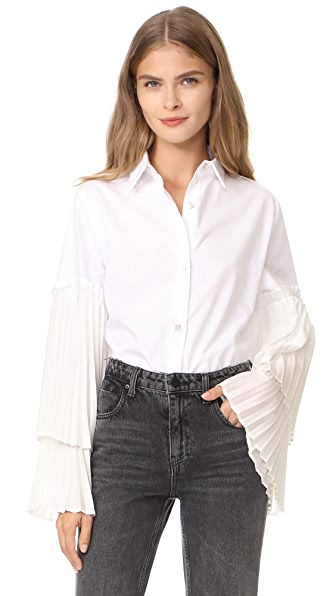 Clu Blouse with Pleated Sleeves - White