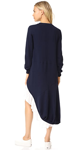 Clu Sweater Dress with Asymmetrical Ruffles