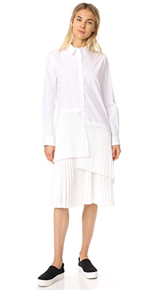 Clu Asymmetrical Paneled Button Up Dress - White