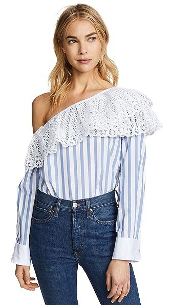 Clu One Shoulder Striped Shirt In Blue