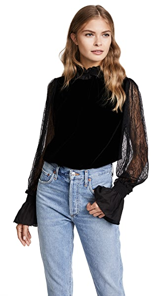 Clu Victorian Blouse with Lace In Black