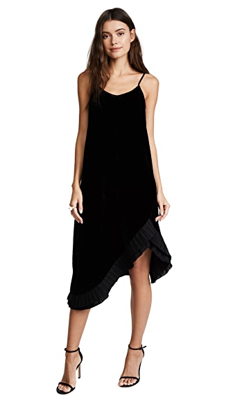 Clu Pleat Trimmed Velvet Dress
