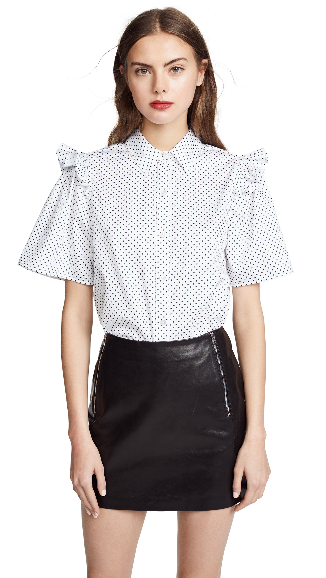 Clu Polka Dot Shirt with Ruffle In White