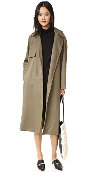 Club Monaco Farrah Trench Coat - Army Green