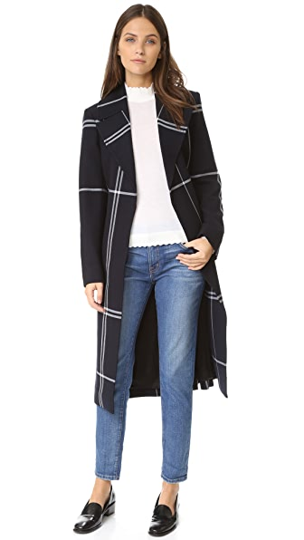 Club Monaco Simin Coat - Navy Plaid