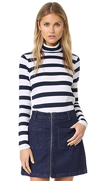 Club Monaco Jewelle Turtleneck - White/Navy Stripe