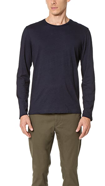 Club Monaco Long Sleeve Indigo Crew Tee