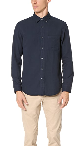Club Monaco Slim Button Down Double Face Shirt