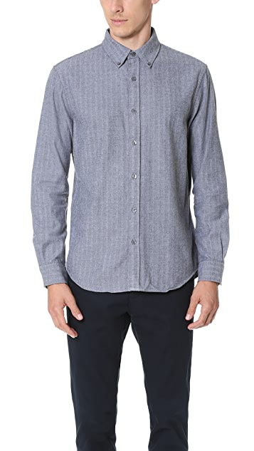 Club Monaco Slim Herringbone Button Down Shirt