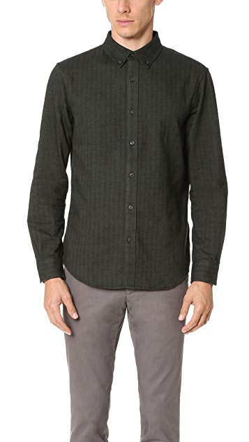 Club Monaco Slim Herringbone Button Down Shirt