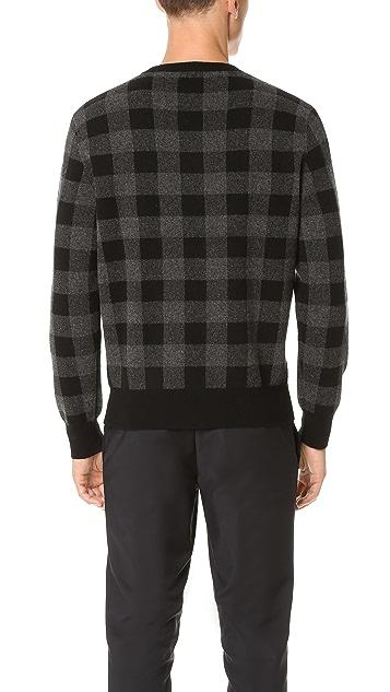 Club Monaco Buffalo Check Crew Sweater
