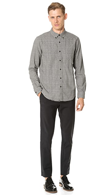 Club Monaco Slim Button Down Houndstooth Flannel Shirt