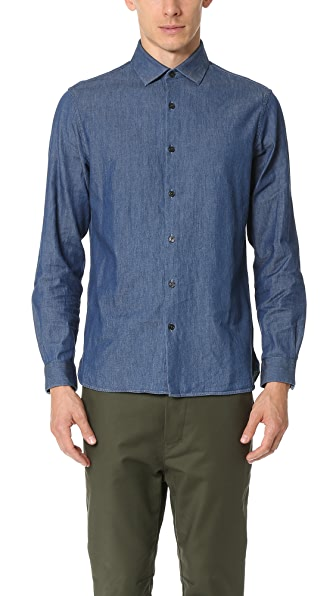 Club Monaco Slim Spread Collar Indigo Dress Shirt