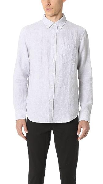 Club Monaco Slim Button Down Linen Houndstooth Shirt
