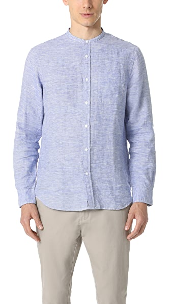 Club Monaco Slim Band Collar Linen End on End Shirt