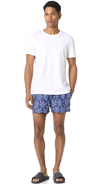 Club Monaco Arlen Geo Leaf Swim Trunks