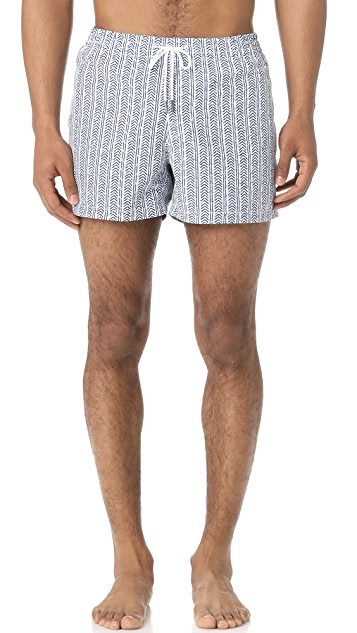 Club Monaco Arlen Waterfall Print Swim Trunks