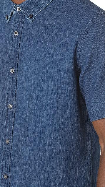 Club Monaco Button Down Textured Indigo Shirt