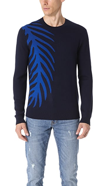 Club Monaco Wool Palm Crew Neck Sweater