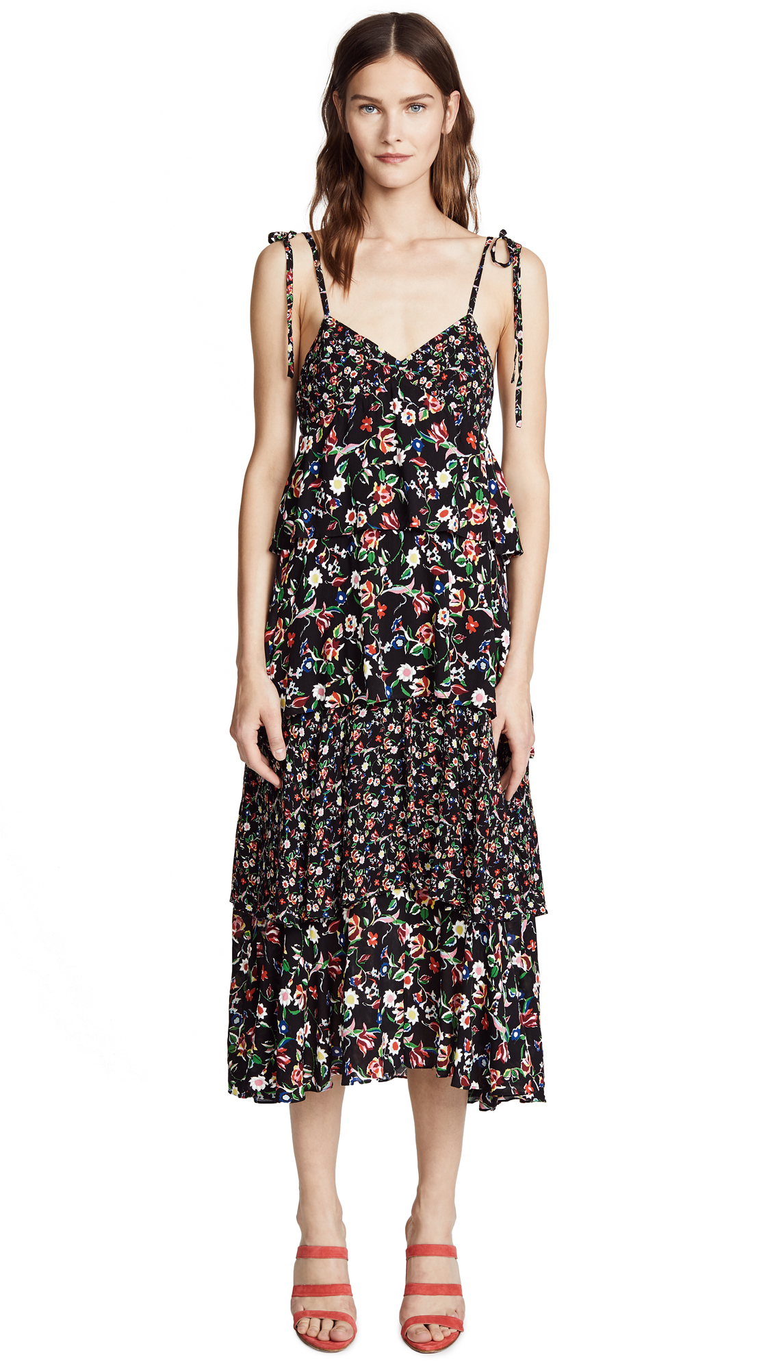 Club Monaco Suukyi Dress In Soot Black Multi
