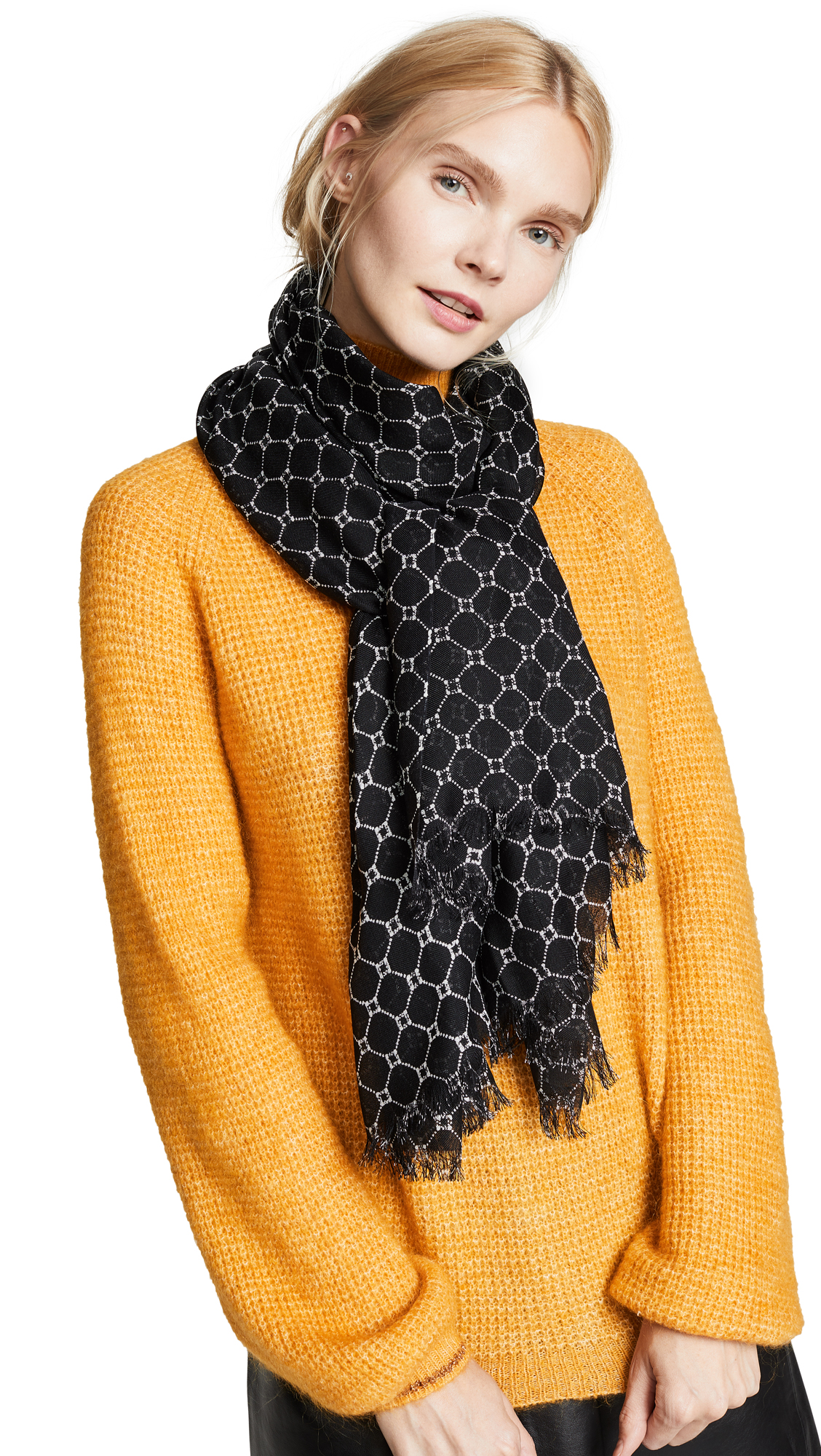 Club Monaco Senella Geo Scarf In Black/White